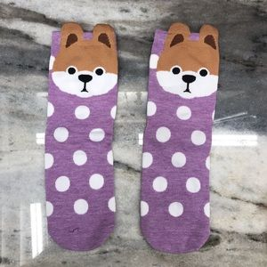 Pink and White Polka Dot Cute Dog Socks
